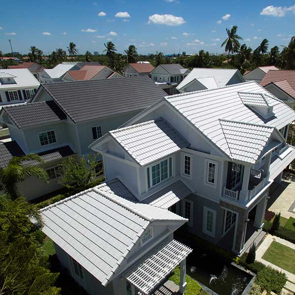 Houses with new roof tiles installed